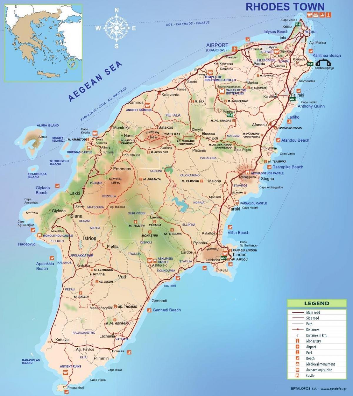 Rodos Grecja Mapa Mapa Wyspy Rodos W Grecji Europa Poludniowa