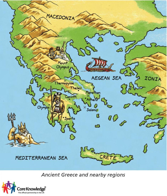 Starozytna Grecja Mapa Dla Dzieci Mapa Starozytnej Grecji Dla